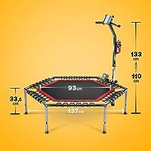 Dimensions du trampoline.