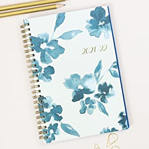 blue sky bakah blue collection, academic planner, weekly, monthly, 2021-2022, floral cover, desk
