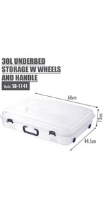 HOUZE - 30L UNDERBED STORAGE WITH WHEELS AND HANDLE (CLEAR)
