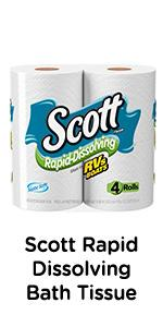 Scott Rapid Dissolving toilet paper sheets break up four times faster than the average bath tissue.