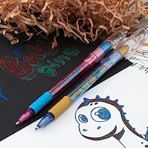pentel, black, paper, ink, gel, sparkle, krazy, pen