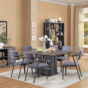 ACME Cargo Dining Table - 77900 - Antique Walnut & Gunmetal