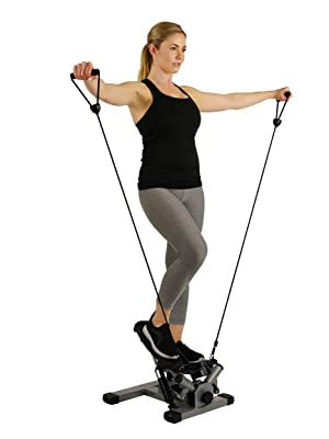 step machine with resistance bands handles