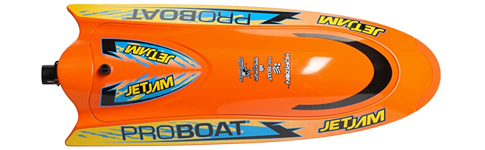 Top product view of orange Jet Jam rc boat with blue, black and yellow decals applied