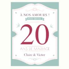 Etiquettes bouteilles anniversaire de mariage vin champagne