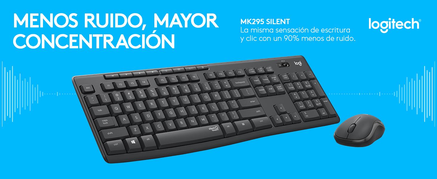 Logitech MK295 Combo de Ratón y Teclado Inalámbricos: Tecnología SilentTouch, Teclado Numérico Completo, Botones de Atajos, Receptor Nano USB, 90 % ...