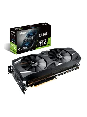 ASUS GeForce RTX 2070 Overclocked 8G GDDR6 Dual-Fan Edition VR Ready HDMI DP 1.4 USB Type-C Gaming Graphics Card (DUAL-RTX-2070-O8G)
