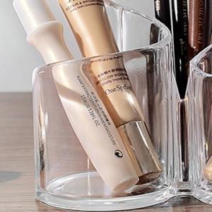 Acrylic Makeup Brush Holder Desk Organizer Cosmetics Organizer Lipstick Organizer, Round, 370 Gram
