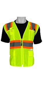 Global Glove SURVEYOR/'S SAFETY VEST CLASS 3 LIME MESH REFLECTIVE ITEM GLO-127