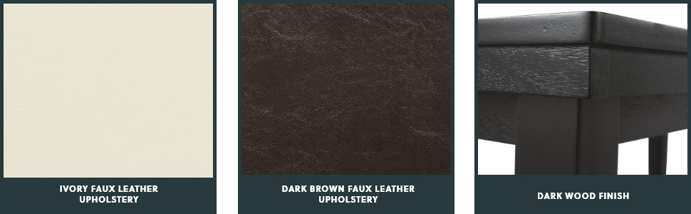 faux leather upholstery dark wood finish
