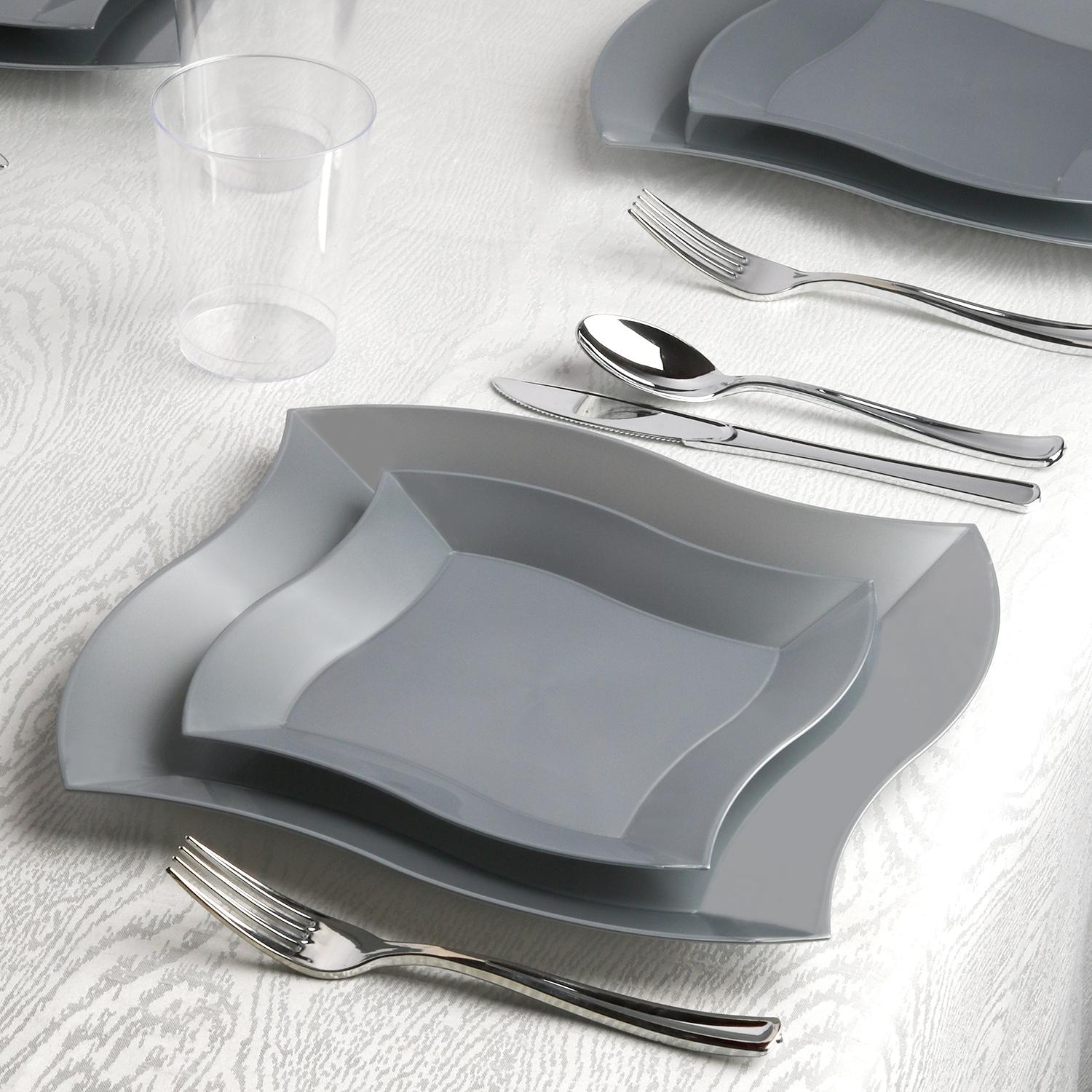 Kaya Collection - Wave Silver Disposable Plastic Dinnerware Party Package -  60 Person Package -