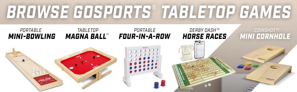 gosports tabletop board game kids fun birthday family game night four in a row cornhole bowling fun