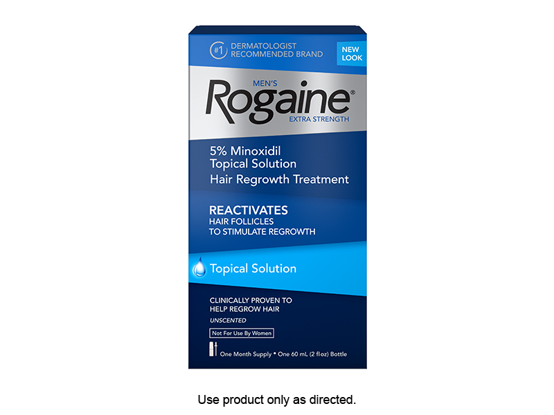 MEN'S ROGAINE SOLUTION PENETRATES INTO THE SCALP TO REGROW FULLER, THICKER HAIR.