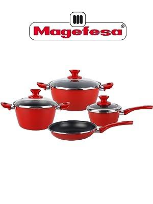 Magefesa Fit Batería de cocina, Acero esmaltado, Rojo