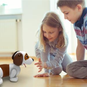 boy and girl playing with barking dash