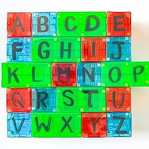 Magna-Qubix magnetic building blocks alphabet learning