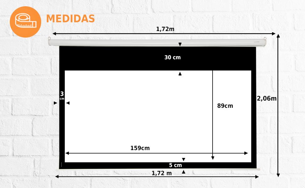 """pantalla de proyección manual 72"""" 16:9, pantalla de proyección manual amazon, pantalla proyector 72"""""""