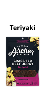 teriyaki beef jerky 100% grass, fed beef, real ingredients, high protein, gluten free