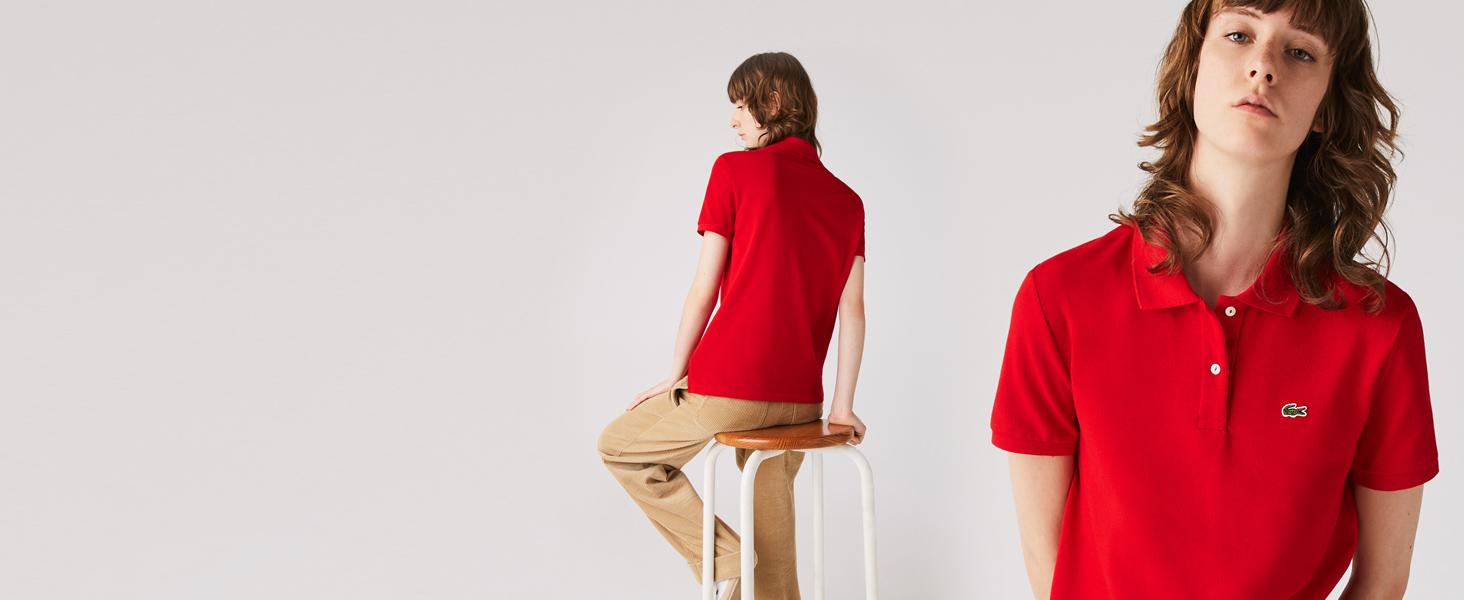 Polo rojo de corte clásico para mujer