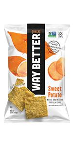 sweet potato sweet chili flavored sprouted tortilla chips