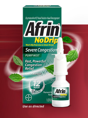 bayer afrin no drip severe congestion nasal spray nasal congestion mist 12 hours all day all night