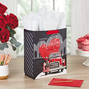 Black Valentines day gift bag with old-fashioned red truck for husband, boyfriend, son or brother