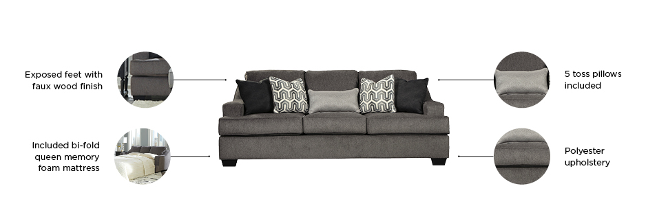 Stupendous Signature Design By Ashley Gilmer Contemporary Chenille Upholstered Queen Size Sleeper Sofa Gunmetal Beatyapartments Chair Design Images Beatyapartmentscom