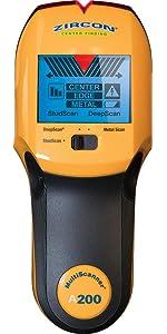 A200, stud, edge, woodscanner, Detección, escanador, contractor, metal, live wire, act, center