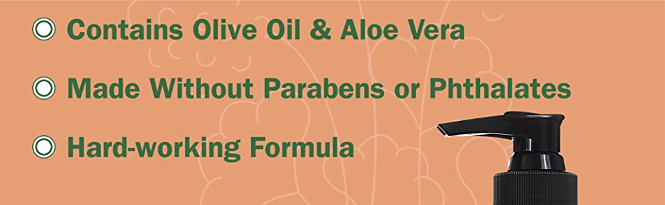 Contains olive oil and aloe vera, made without parabens or phthalates, hard-working formula