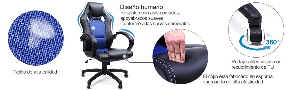 SONGMICS Racing Silla de Escritorio de Oficina Ergonómica Regulable con Ruedas, OBG56L, Azul 1