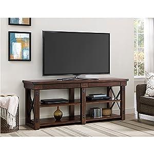Amazoncom Ameriwood Home Wildwood Wood Veneer Tv Stand For Tvs Up