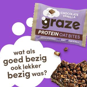 De chocolate vanilla protein oat bites van graze.