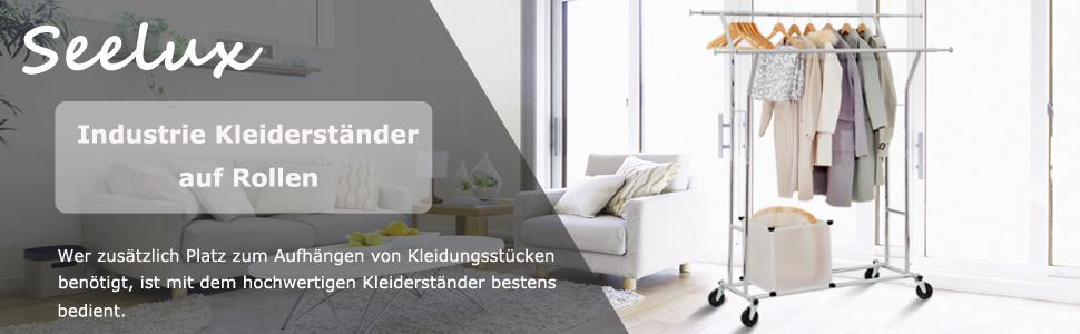 seelux industrie kleiderst nder auf rollen 150kg ausziehbar zusammenklappbar h henverstellbar. Black Bedroom Furniture Sets. Home Design Ideas