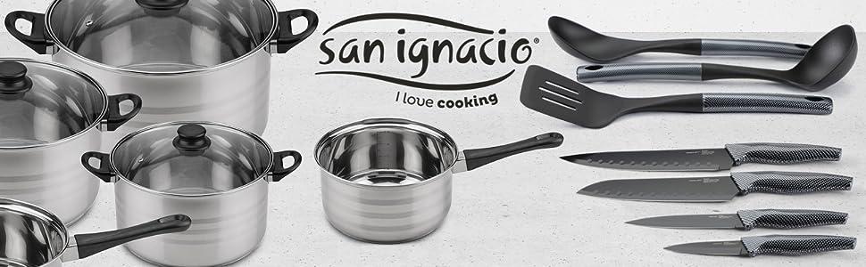 San Ignacio Premium Set de Bateria 8 Piezas + 4 Cuchillos 3 Utensilios de Cocina, 8 pcs
