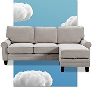 Serta sofa sectional with reversible chaise ottoman modern gray couch for apartment living rooms