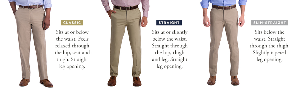 Haggar Men S Iron Free Premium Khaki Slim Straight Fit Flat Front Flex Waist Casual Pant Black 29 X 30 At Amazon Men S Clothing Store