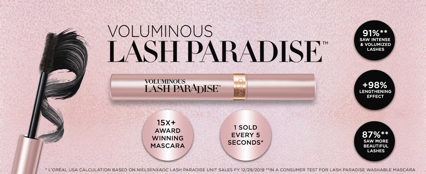 lash paradise mascara, lengthening mascara, volumizing mascara, black mascara, very black mascara