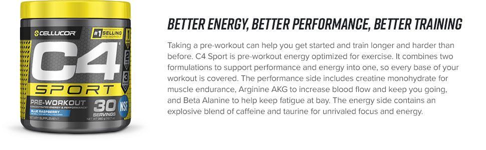 cellucor, c4, c4 sport, pre-workout, taurine, caffeine, energy