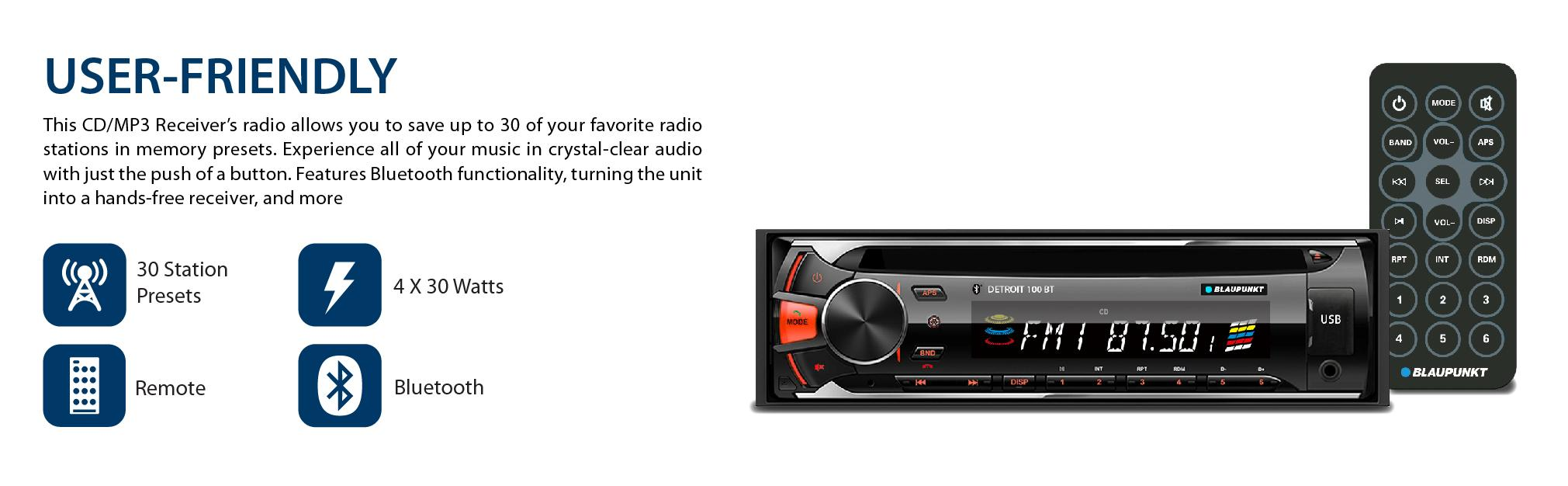 amazon com blaupunkt detroit 100 bt cd am fm mpx2 bluetooth car rh amazon com Blaupunkt Speakers Old Blaupunkt Car Stereo