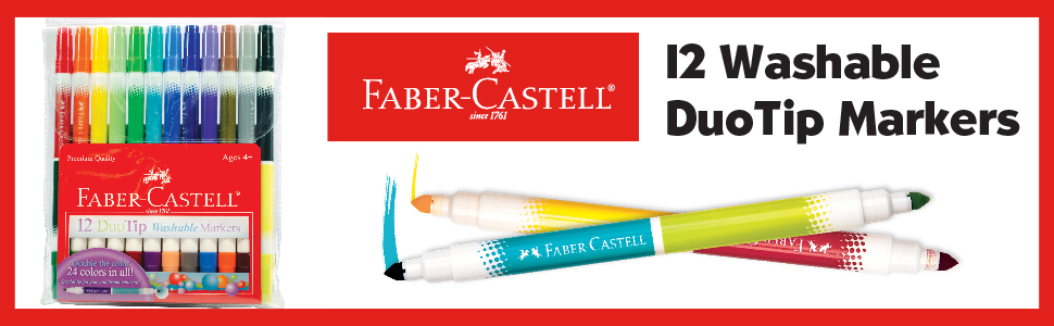 Markers, DuoTip Markers, Faber-Castell, School Supplies, Arts and Crafts, Coloring, Multicolor
