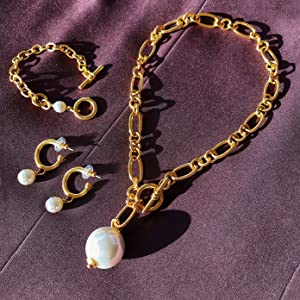 gold link chain bracelet necklace pearl cultivated freshwater real 14k 18k 24k cuban luxury plated
