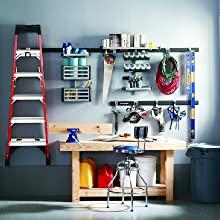 Rubbermaid garage fasttrack hooks and rails storage