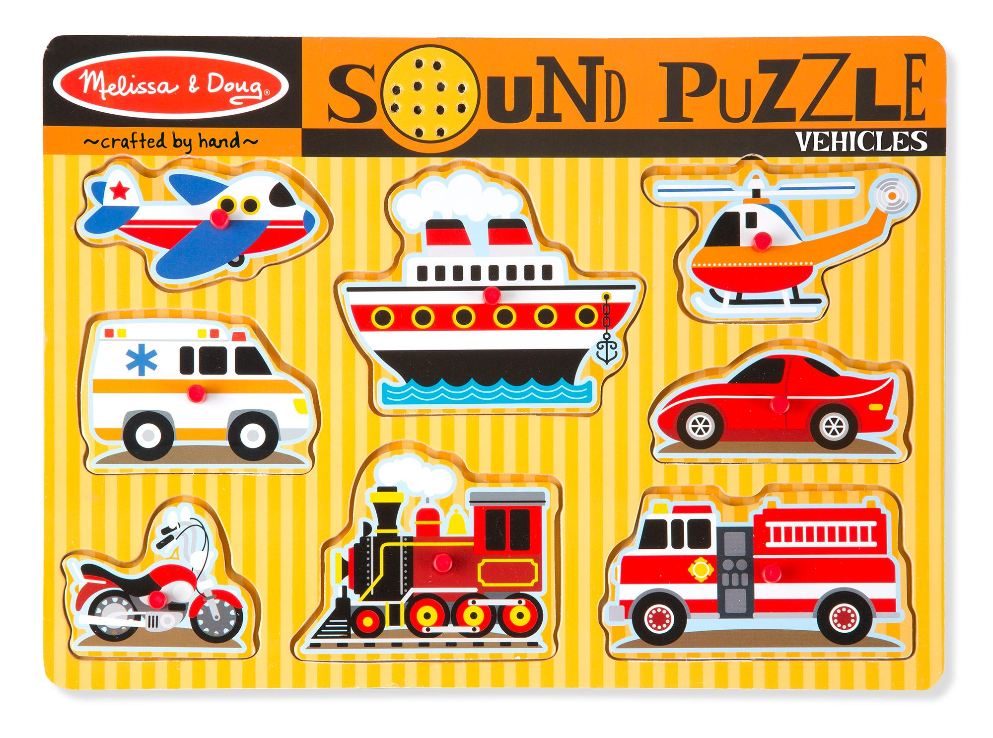 Amazon.com: Melissa & Doug Vehicles Sound Puzzle (8 Pieces): Melissa ...