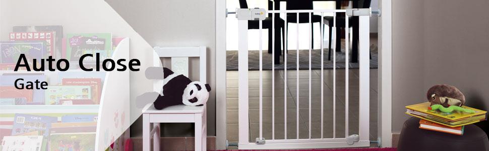 ni/ños y perros Blanco barrera escalera beb/é Puerta de seguridad 80 cm hasta 136 cm con extensiones Safety 1st Easy Close Metal Barrera de seguridad metalica para puertas y escaleras