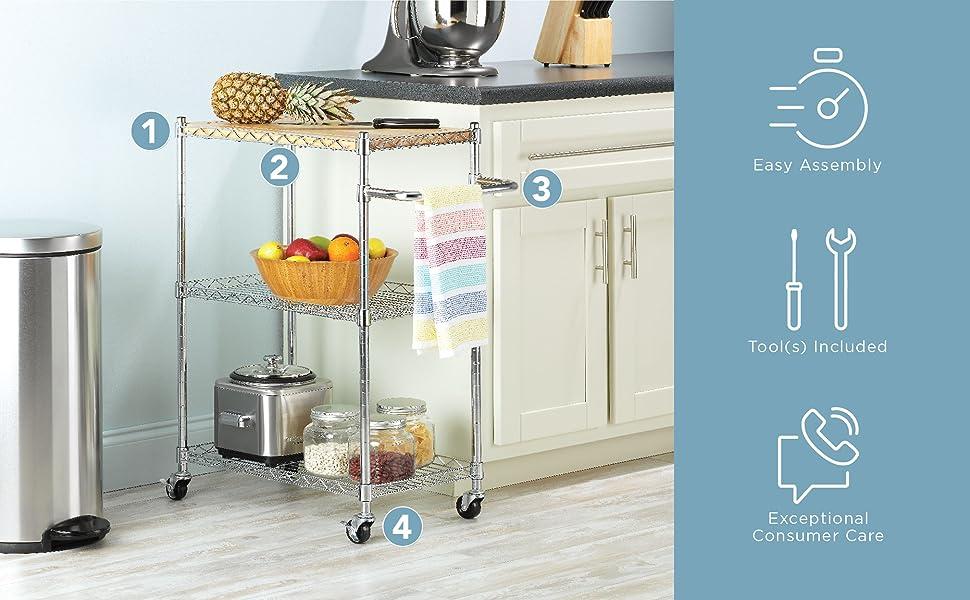 Supreme Kitchen Cart - Chrome