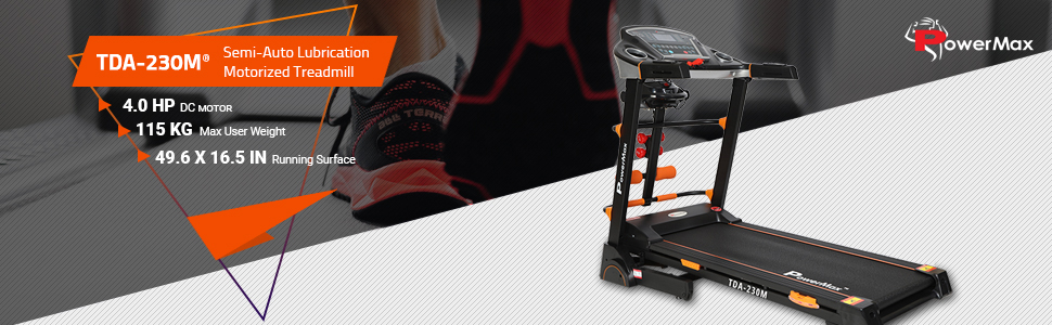 PowerMax Fitness TDA-230M (2.0 HP) Motorized Treadmill with Massager, Dumbbells, Sit-up & Twister