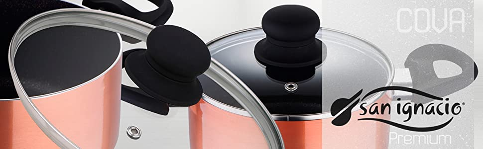 Batería de cocina color bronce 7 piezas: Sartén Ø26 cm; Ollas con tapa de vidrio de Ø16 (1,25 litros), Ø20 (3,3 litros), y Ø24 (4,5 litros)