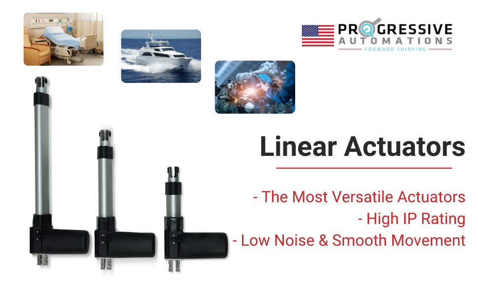 Force 100 lbs Speed 2.80//sec IP66 Progressive Automations Linear Actuator 12 VDC Stroke Size 22