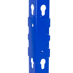 blue, post couplers, boltless shelving, industrial shelving, steel shelves, wire decking rack