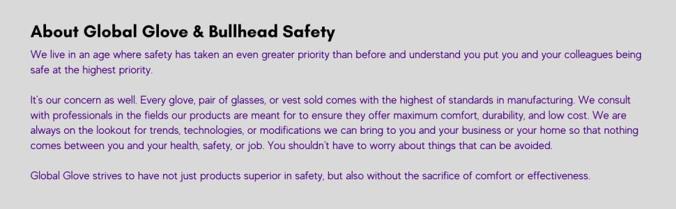 global glove safety and manufacturing bullhead safety products